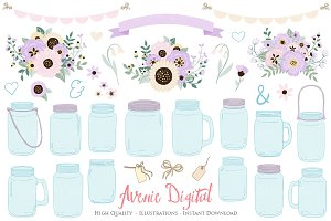 Lilac Wedding Mason Jar Cliparts