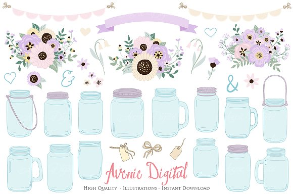 Lilac Wedding Mason Jar Cliparts