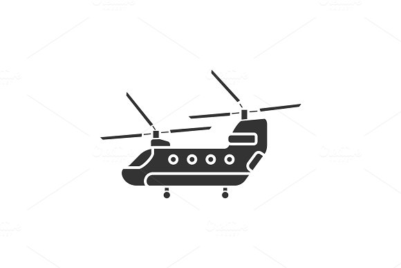 Military Helicopter Glyph Icon