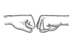 Fist to fist symbol.