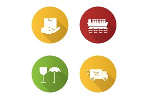 Cargo shipping flat design long shadow glyph icons set