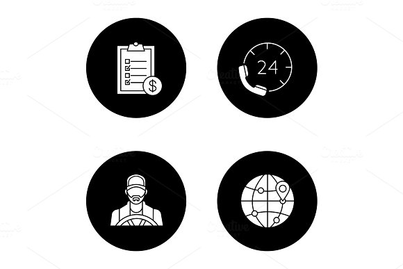 Cargo Shipping Glyph Icons Set