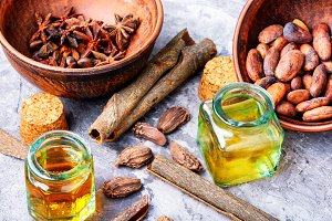 Essential cinnamon oil in bottle