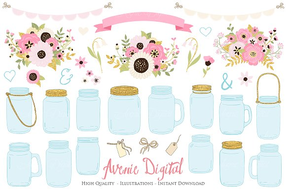 Pink And Gold Wedding Mason Jar