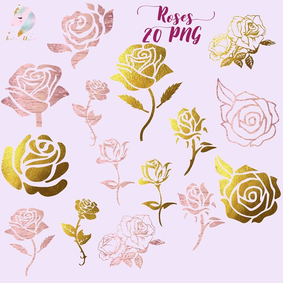 Gold Foil Roses Silhouettes Clipart
