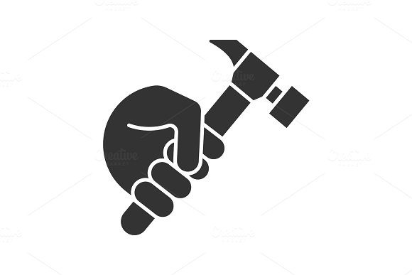 Hand Holding Hammer Glyph Icon