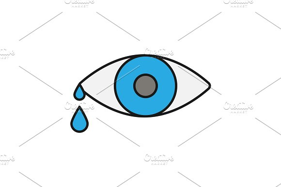Crying Human Eye Color Icon