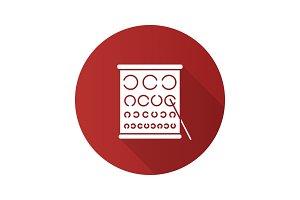 Eye exam chart flat design long shadow glyph icon