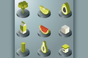 Vegan life color isometric icons set