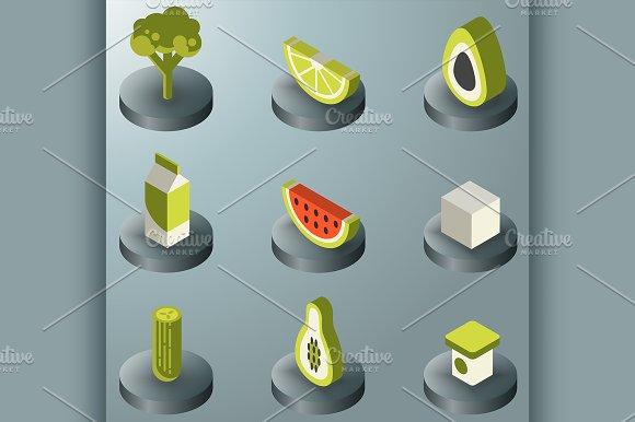 Vegan Life Color Isometric Icons Set