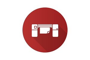 Large format printer flat design long shadow glyph icon