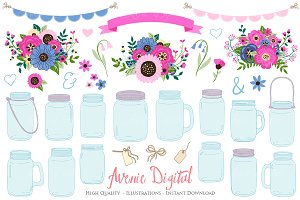 Pink and Navy Mason Jar Cliparts