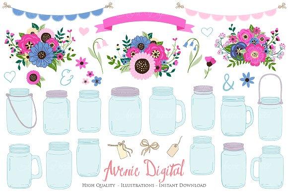 Pink And Navy Mason Jar Cliparts