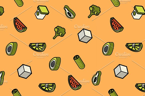 Vegan Life Color Outline Isometric