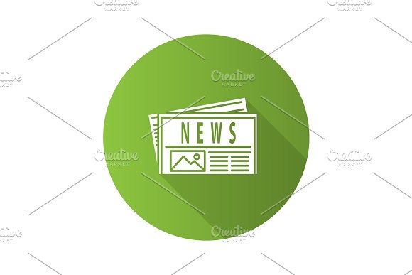Newspaper Flat Design Long Shadow Glyph Icon