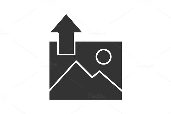 Digital Image Uploading Glyph Icon