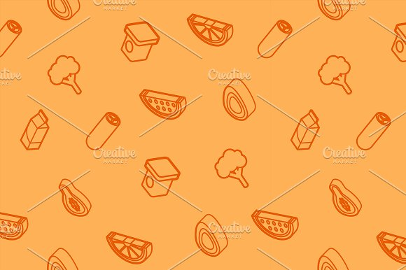 Vegan Life Outline Icons Pattern