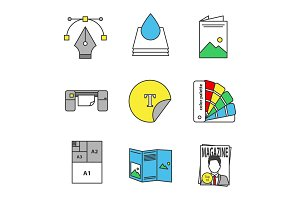 Printing color icons set