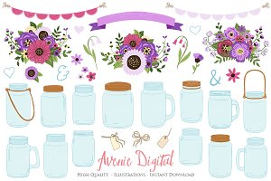 Purple Wedding Mason Jar Cliparts
