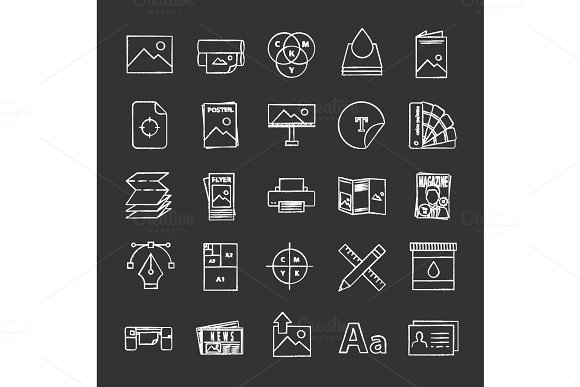 Printing Chalk Icons Set