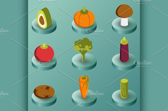 Vegetebles Color Isometric Icons