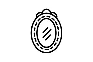Web line icon. Mirror black on white