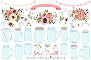 Soft Pink Wedding Mason Jar Cliparts
