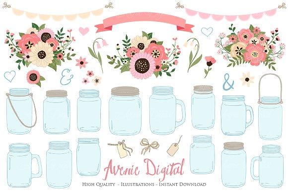 Soft Pink Wedding Mason Jar Cliparts