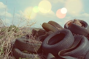 Pile of used and wasted Tires