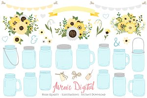 Yellow Floral Mason Jars Cliparts
