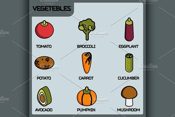 Vegetebles Color Outline Icons
