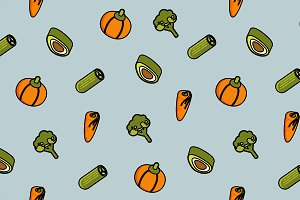 Vegetebles color outline pattern