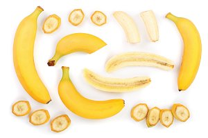 whole and sliced bananas isolated on white background. Top view. Flat lay