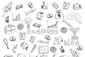 Business strategy sketch icons