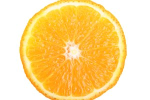 orange slice isolated on white background closeup