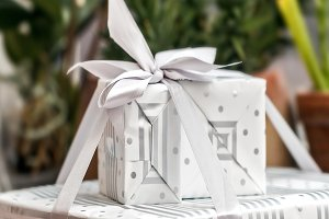 Beauty white gift box with ribbons