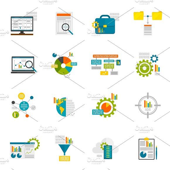Data Analytics Flat Icons Set