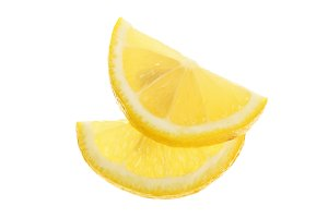 lemon slice isolated on white background closeup