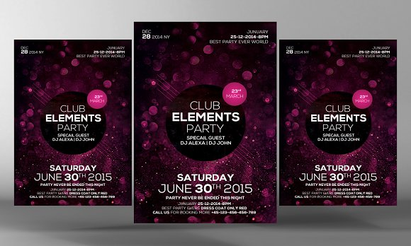 Club Elements Party Flyer Template