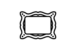 Web line icon. Picture frame. black