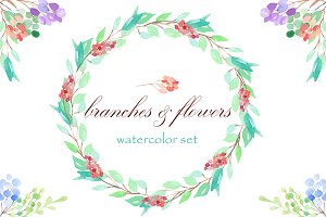 Watercolor branches and flowers Set