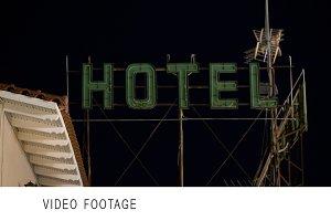 Timelapse of hotel banner blinking