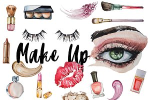 Watercolor Make Up Clipart Set