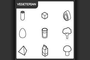 Vegeterian outline isometric icons