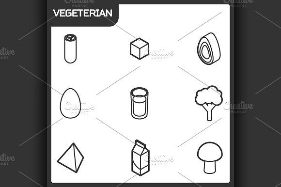 Vegeterian Outline Isometric Icons