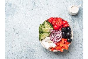 Greek Salad Bowl, copy space, top view