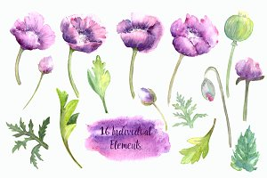 Watercolor Purple Summer Clipart Set
