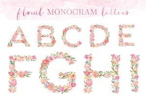 Monogram Floral Alphabet Letters