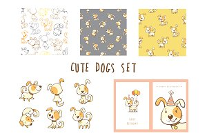 Cute cartoon dogs vector set.