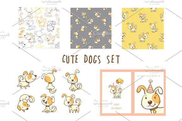 Cute Cartoon Dogs Vector Set